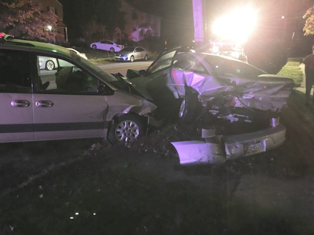 CAR HITS 3 PARKED CARS ON CHESTNUT PARKWAY